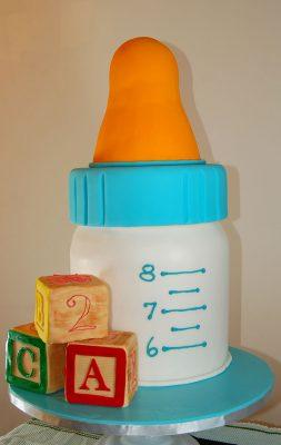 Huascar & Company Bakeshop Baby Bottle & Block Shower Cake