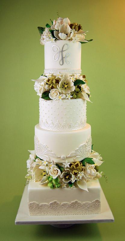 Huascar & Company Bakeshop White Lace Cake with Sugar Flowers