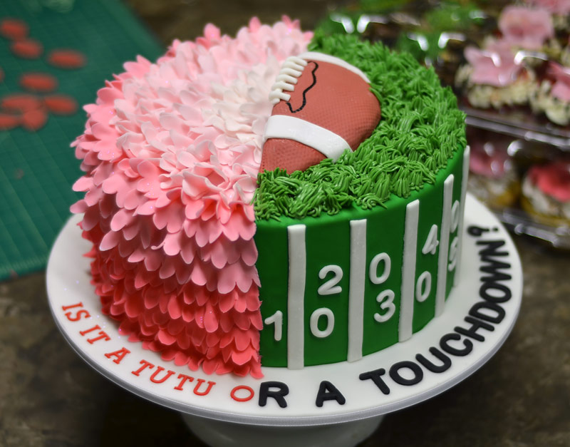 Huascar & Company Bakeshop Gender Reveal Football Tutu Cake