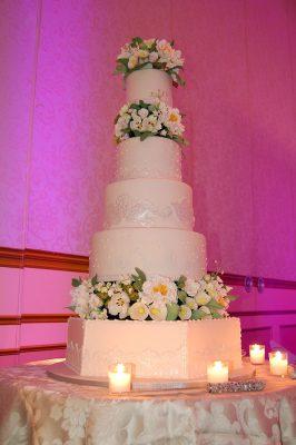 Huascar & Company Bakeshop Ivory Wedding Cake with Sugar Flowers