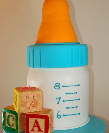 Huascar and Company Baby Bottle Baby Shower Cake