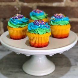 Huascar and Company Pride Rainbow Confetti Cupcakes
